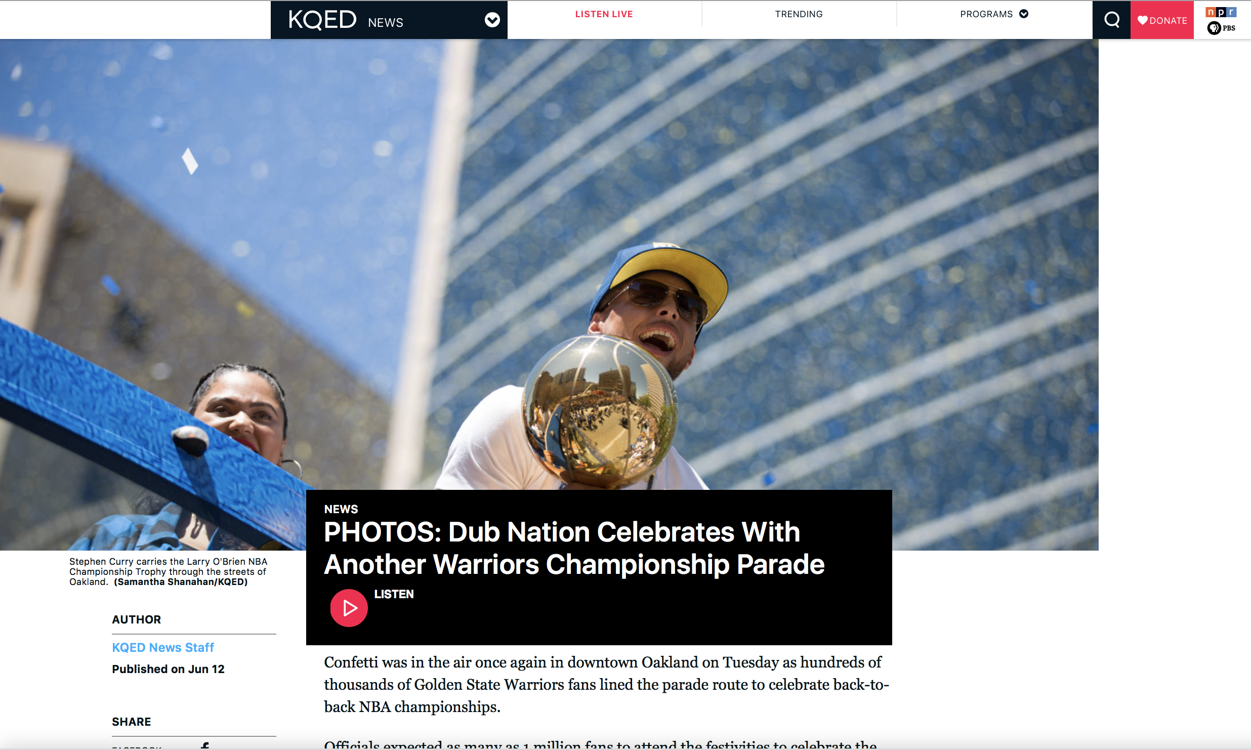 (KQED/News) PHOTOS: Dub Nation Celebrates With Another Warriors Championship Parade