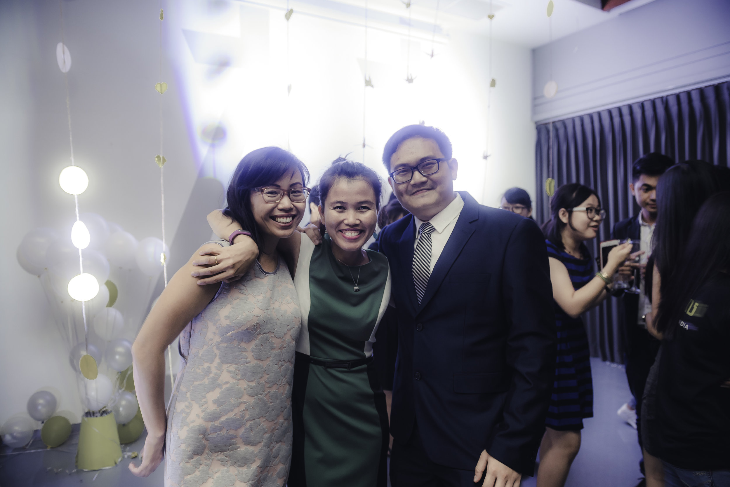 Teach for Cambodia Launch Party - Jojo Lam (l.) with Kalyan Yim and founder Monirath Siv.
