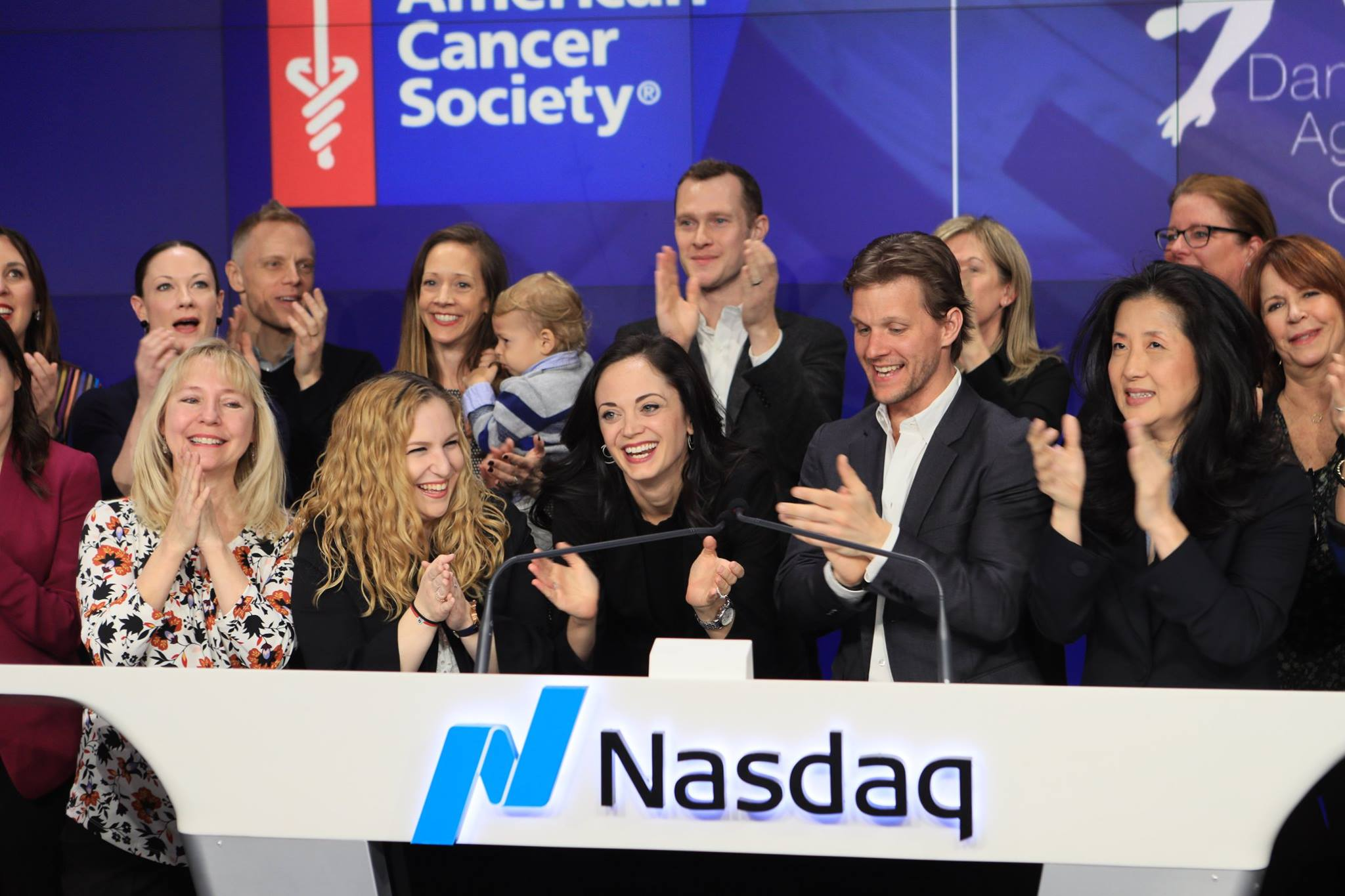 Erin Fogarty-Bittner and her Dance Against Cancer Co-Founder  ring the NASDAQ Closing Bell on March 22, 2018