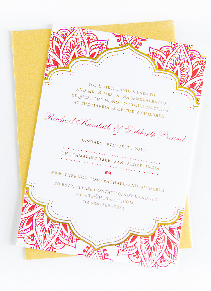 Gold Foil Invitation - We love getting to use gold foil and other special printing techniques! Printing methods like gold foil and letterpress printing add those extra finishing touches that make a huge difference. These red and gold colors made for a stunning combination.When designing with foil, the invitation is essentially printed twice. Once with color (in this case, red) and then separately with a custom foil plate. Check out the plate for this invitation in the photos below!