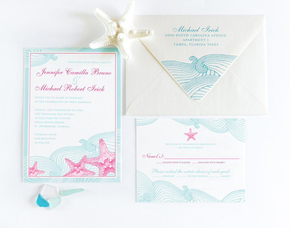 Beach Wedding - From the invitation suite to day of signage, just like the waves, the beach theme flows throughout. With a mint and fuchsia color palette and detailed illustrations, every piece is unique, yet fits perfectly with the theme.Invitations, place cards, programs, menus, table numbers, custom envelopes and even thank you cards, we do it all!