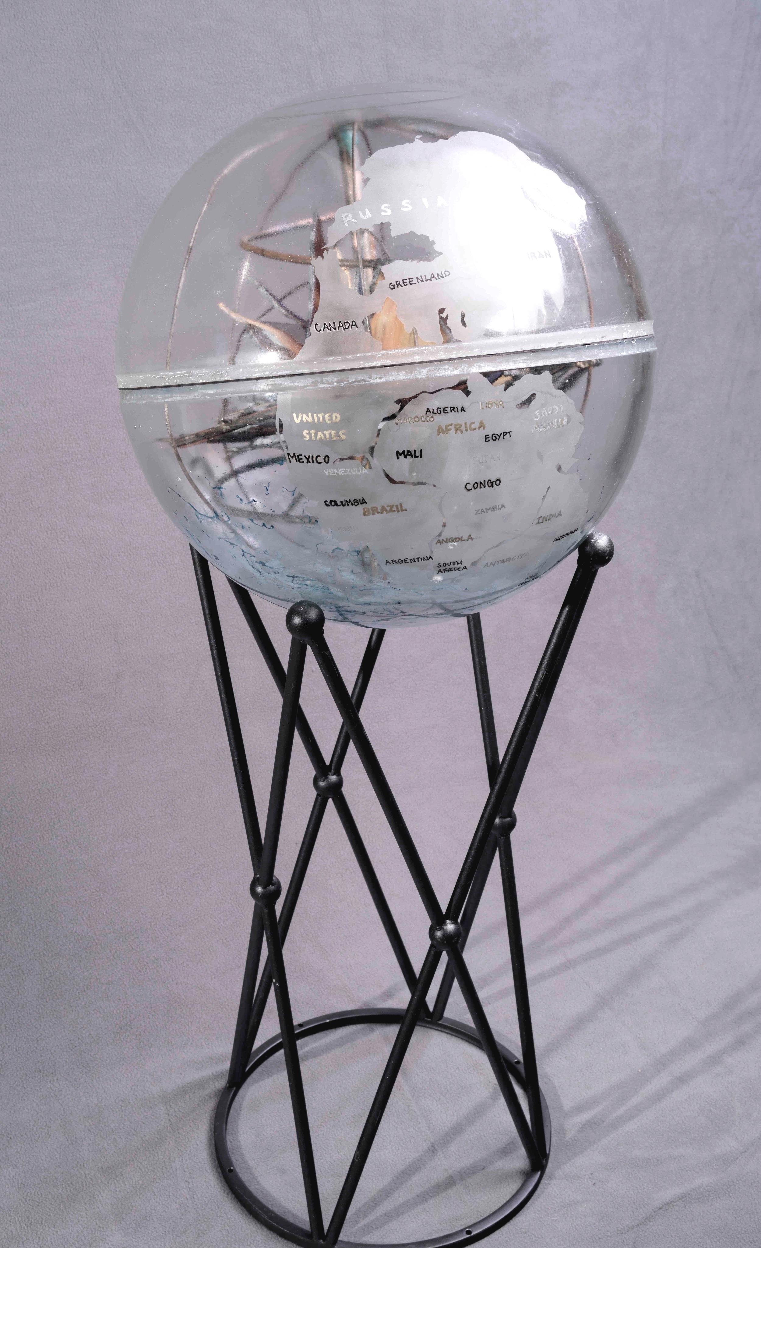 "Pangea, 2018. repurposed mooring ball 16"" diameter"