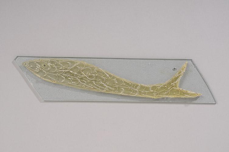 "Hook Fish, 2014, 4"" x 16"" x .5"", plate glass, resin, fish hooks"