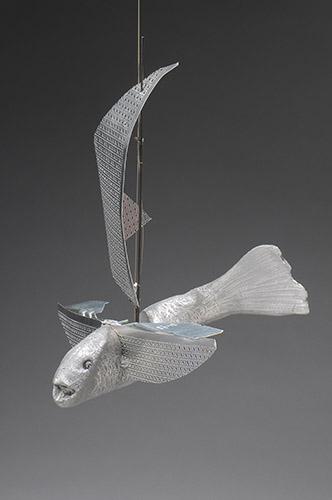 """Flying Sail Fish, 2014, 14 x 16 x 12"""", cast aluminum, sheet metal, fishing rod, wire"""