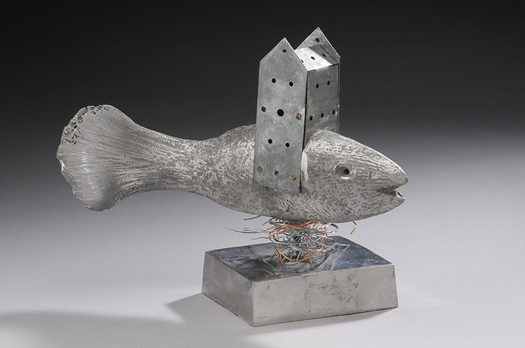 """The Bishop, 2014, 9"""" x 12"""" x 6"""", cast aluminum, sheet metal, steel and copper wire"""