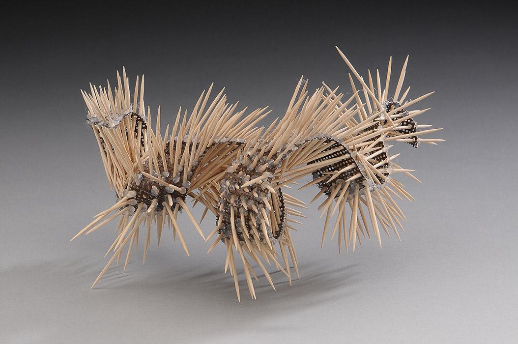 "Invented Nudibranch, 5"" x 9"" x 7"" ,  wood, metal"