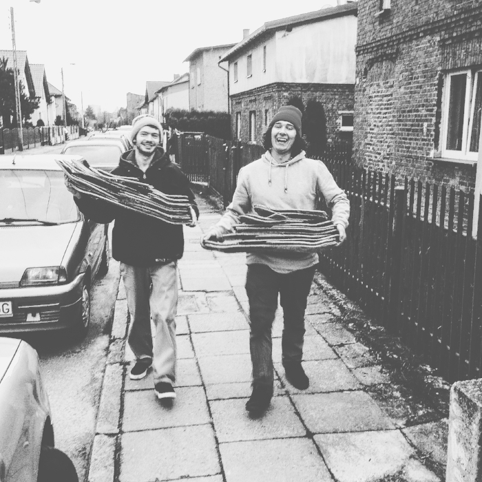BoardThing  crew picking up skateboards that will be turned into rings!