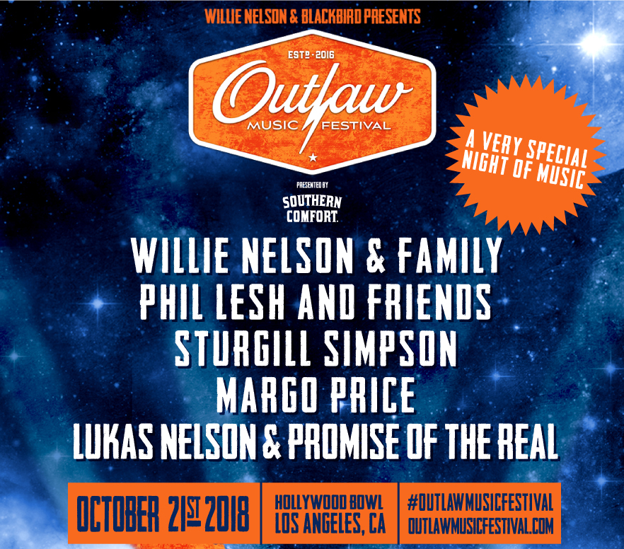 Outlaw Music Festival - Willie Nelson & Family, Phil Lesh and Friends, Sturgill Simpson, Margo Price, Lukas Nelson & Promise of the Real and more!Sunday, October 21st