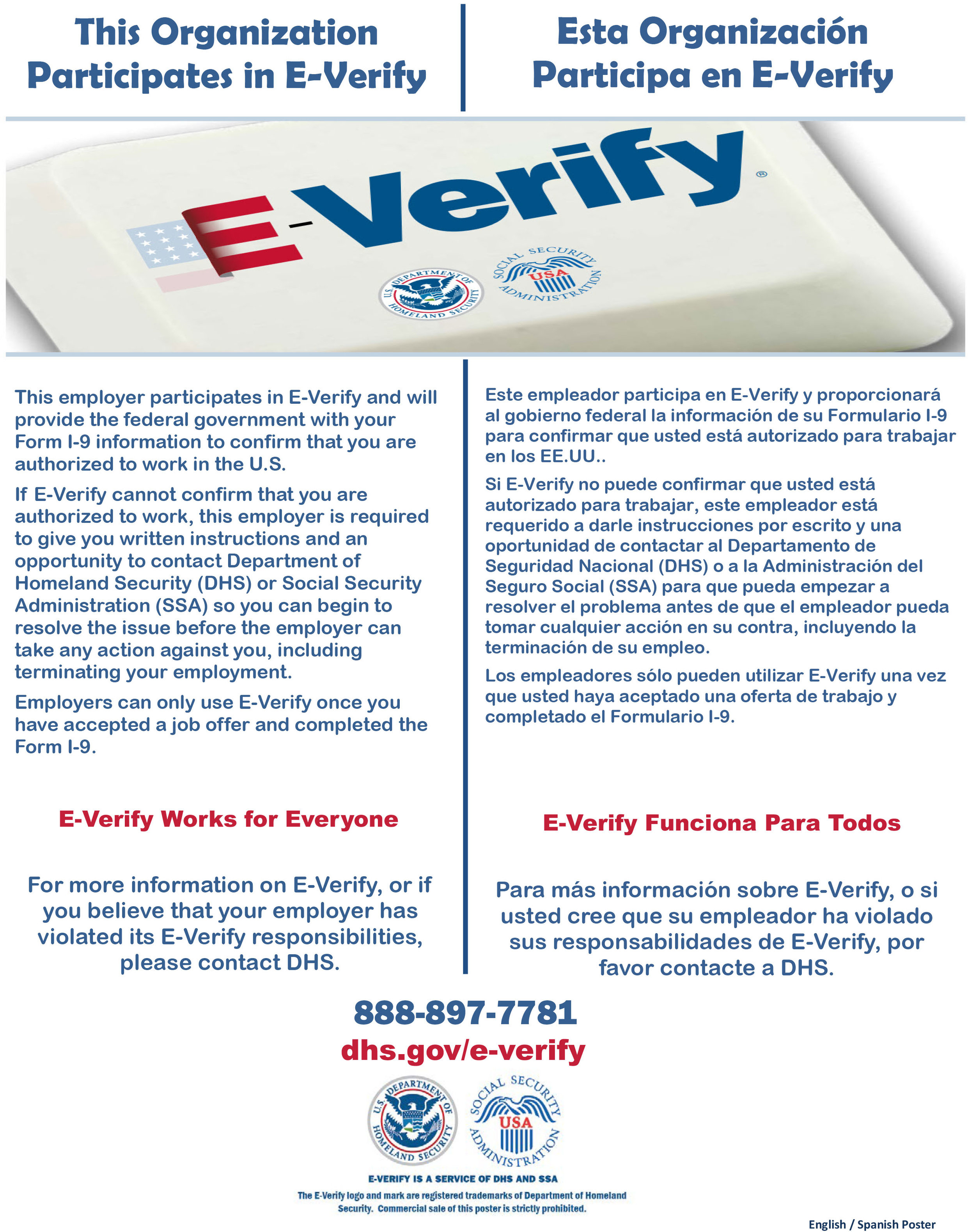 E-Verify Participation Poster English and Spanish