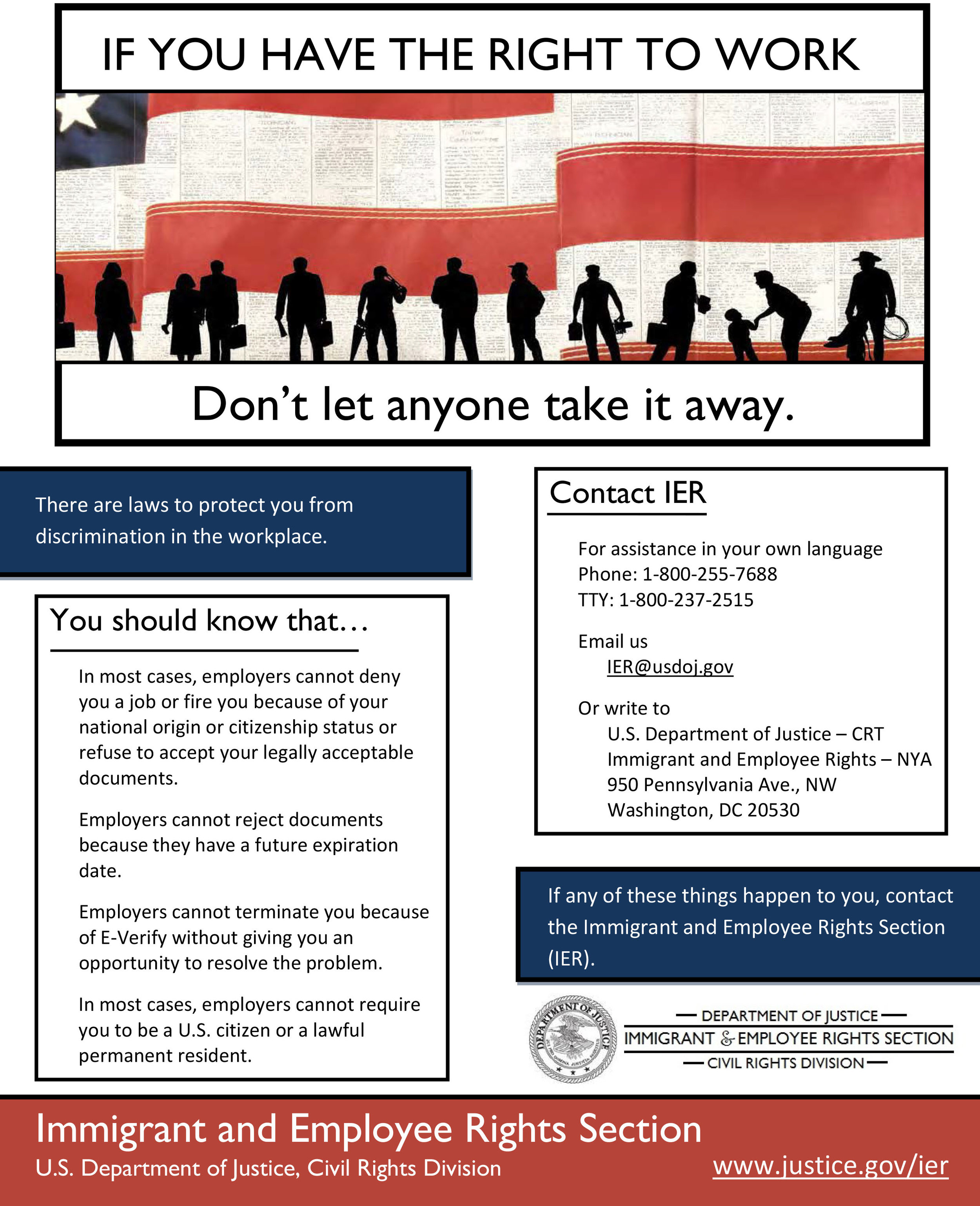 Immigrant and Employee Rights (IER) Poster