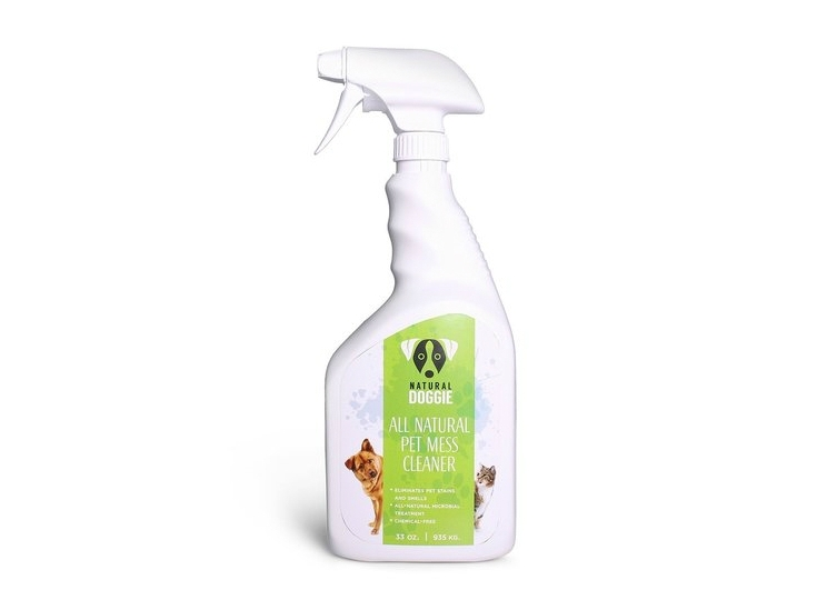Natural Pet Mess Cleaner - A revolutionary cleaner that is odorless and chemical free! This new technology removes all traces of stains and odors due to urine and it is all natural, GMO free and made in the USA.
