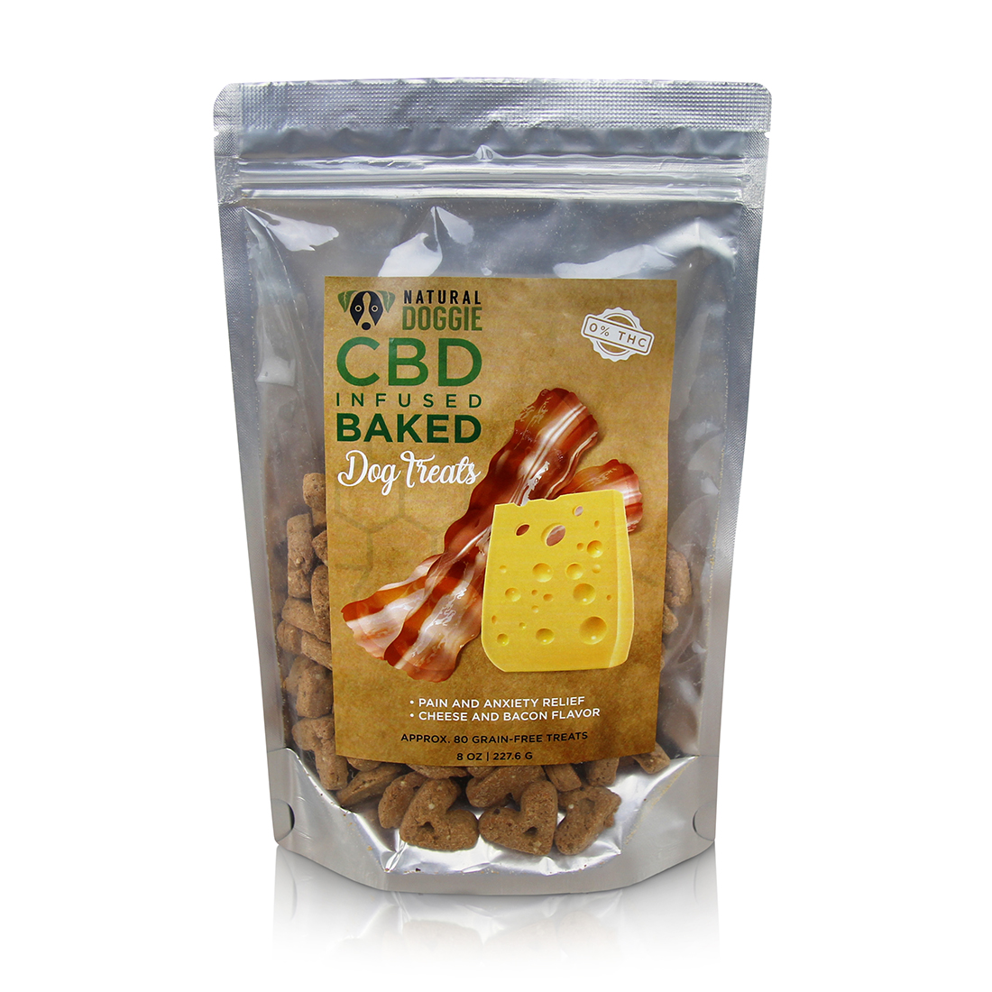 CBD INFUSED BAKED TREATS - Anxiety and pain relief in a cheese and bacon flavored treat your dog will love!