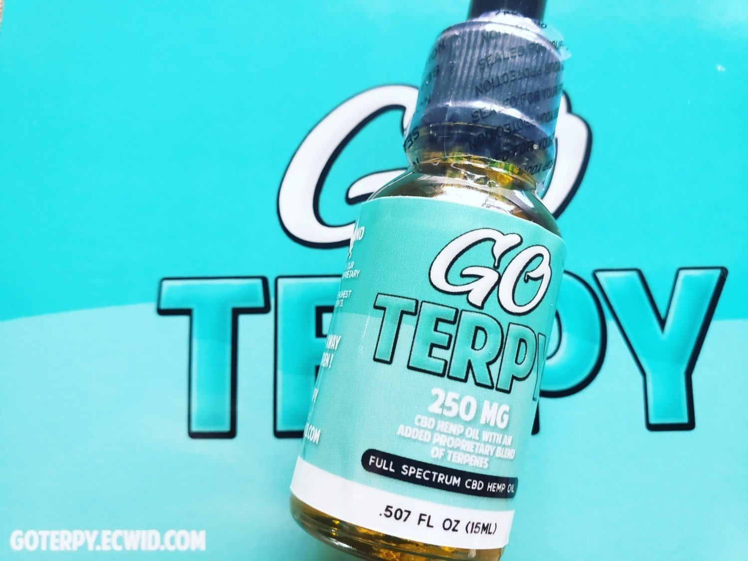 Go Terpy is Full Spectrum CBD Tincture from Hemp with a proprietary blend of organic terpenes for additional medicinal effects. There are 250 mgs of whole plant full spectrum CBD in each 15ml 1/2 oz bottle.