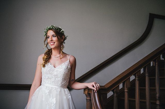 Check out that beautiful smile on Emily! I like taking advantage of big windows and utilizing natural light. #bradbarnwellphotography #bridalportrait #weddingportrait #ohhappyday #lovelysmile #naturallight #weddingday #frederickbride #fnpwedding #frederickphotographer #weddingdress #nikon #frederickwedding #marylandweddingphotographer #emiloseph
