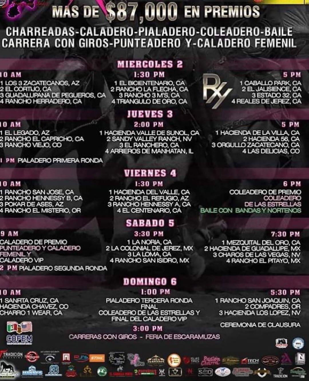 HORARIOS CLASICO DE LAS AMERICAS 2019 - DEL 2 AL 6 DE OCTUBRE 2019
