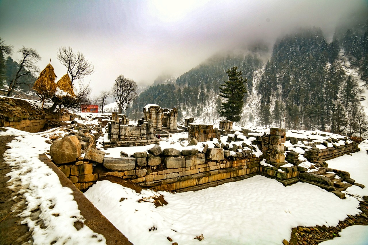 The Naranag Temple Ruins in the Winters