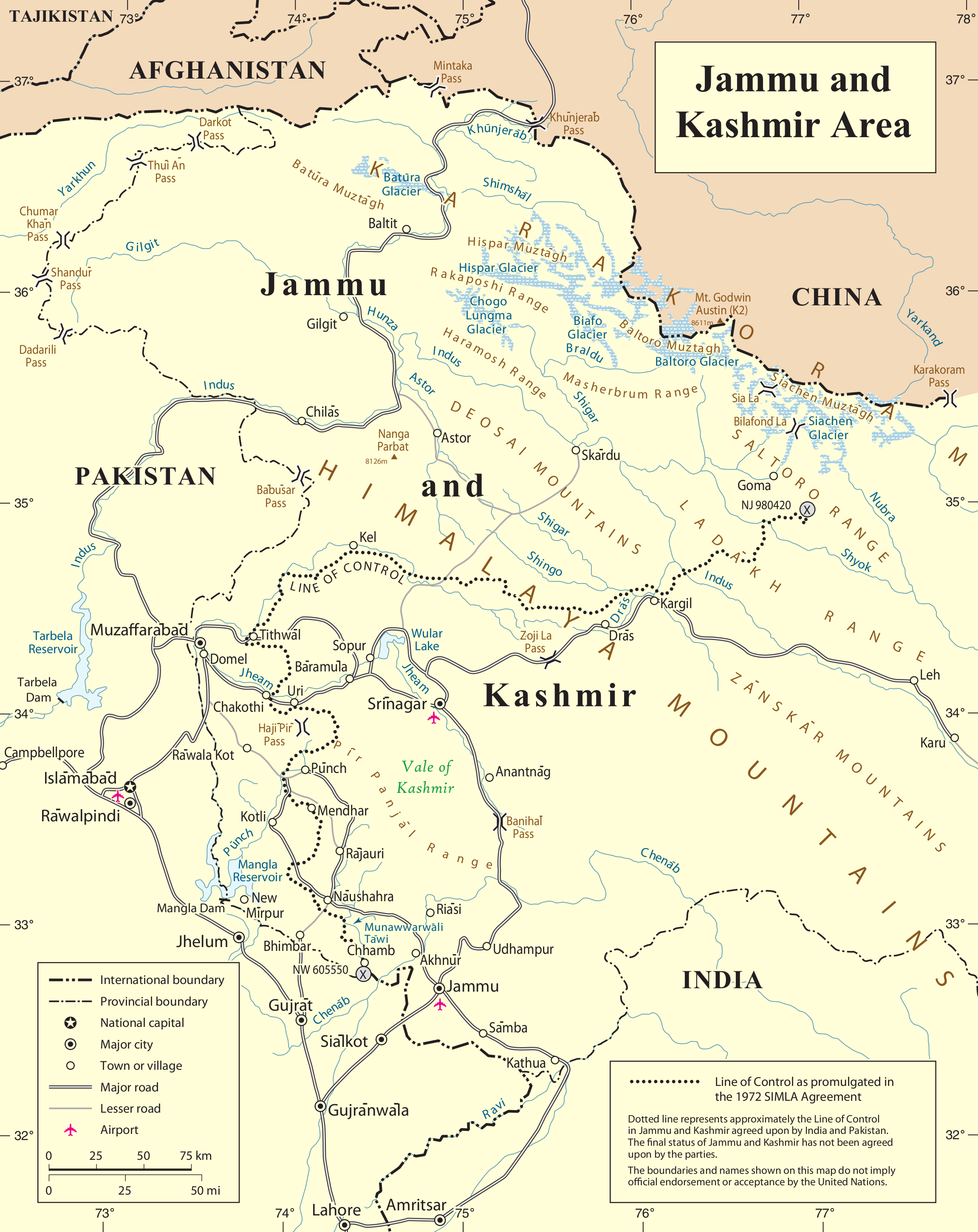 A United Nations Map of the current situation in the state of Jammu and Kashmir