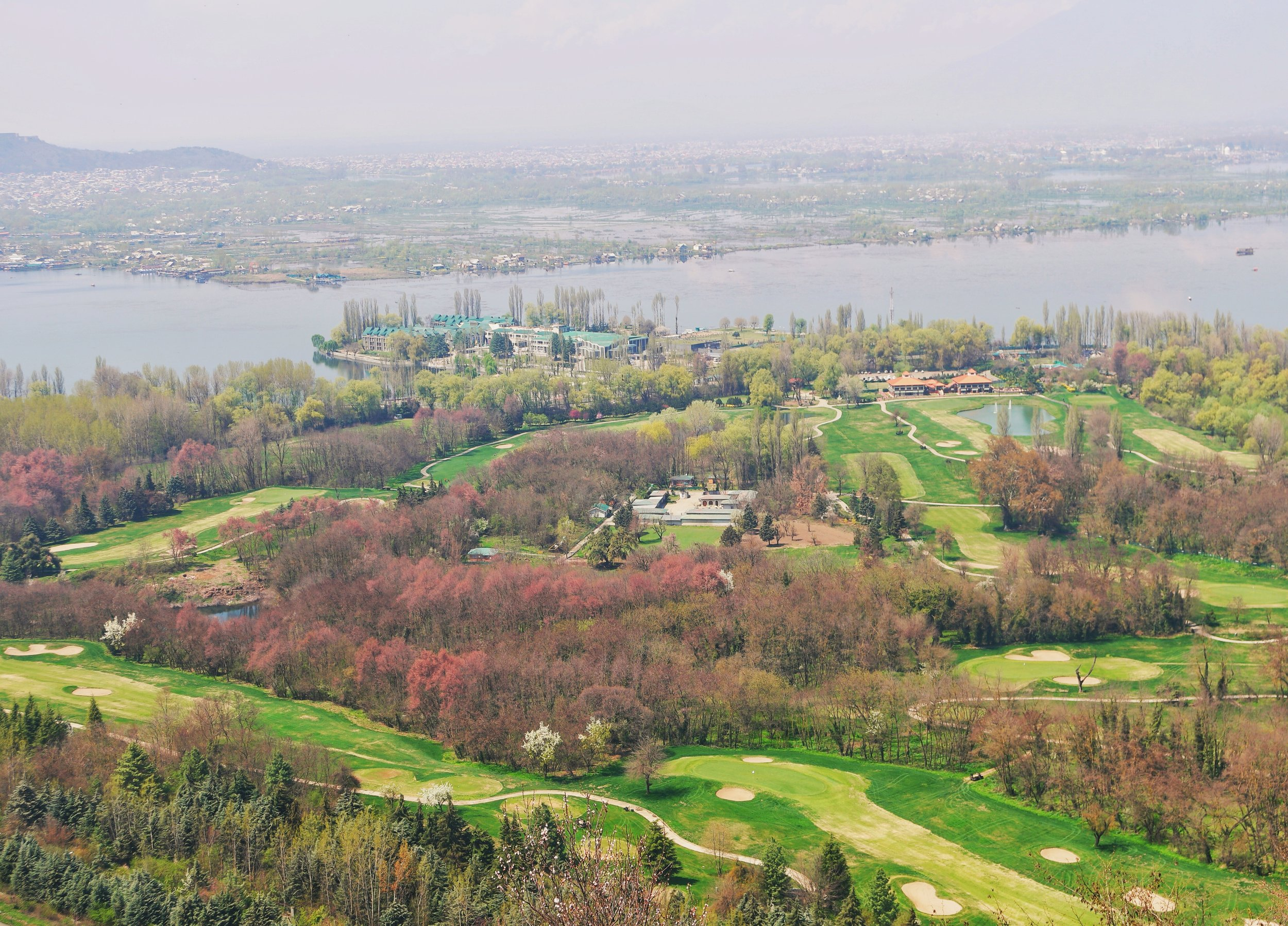 The Royal Springs Golf Course and the Dal Lake as seen from the Pari Mahal.