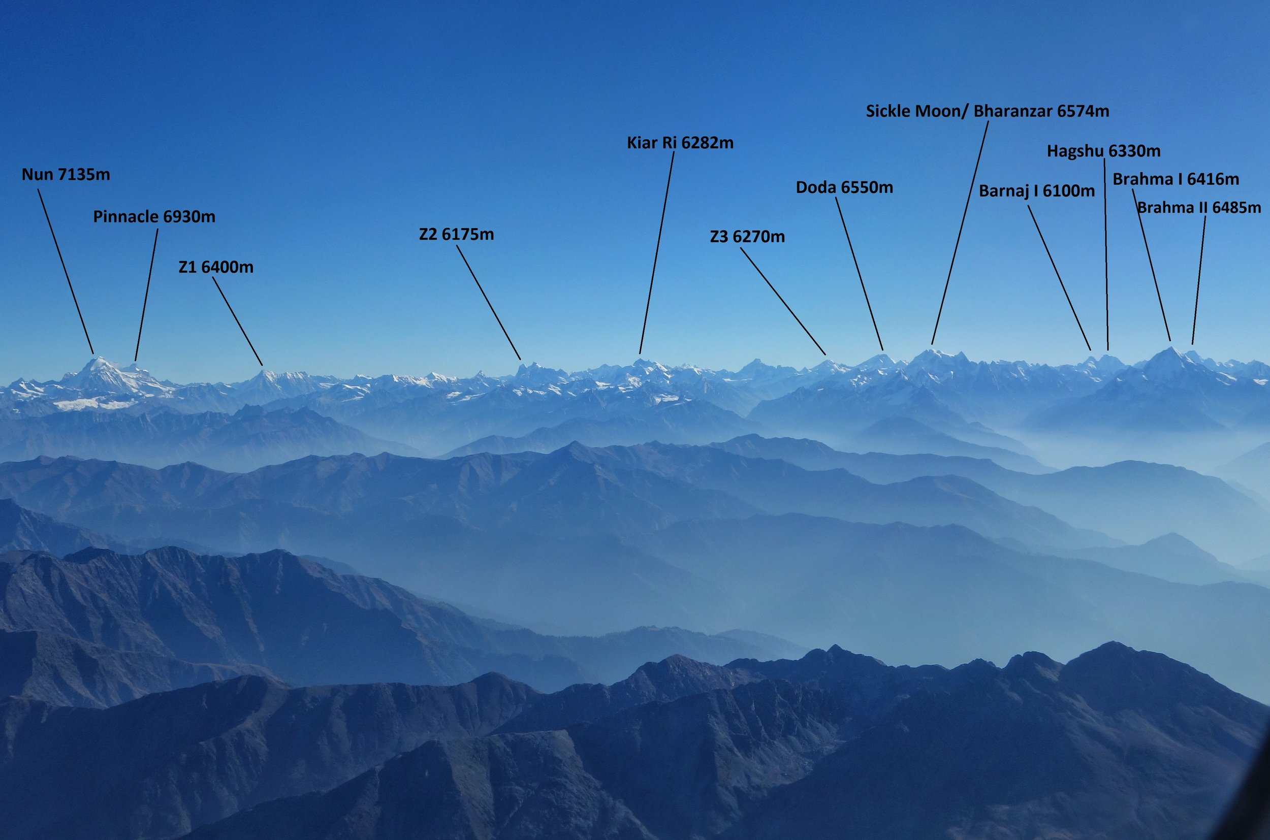 An attempt at labeling some Peaks on the Great Himalayan Range from the enigmatic Peaks of the Kishtwar Himalayas to the giant Twins of Suru / Zanskar, the Nun Kun, the first  #seventhosuanders after Kamet and before the Range ends at the Nanga Parbat Massif. Pic taken while flying over the Pir Panjals and about to get over Kashmir Division. Ladakh Division on the left and Jammu Division on the right.