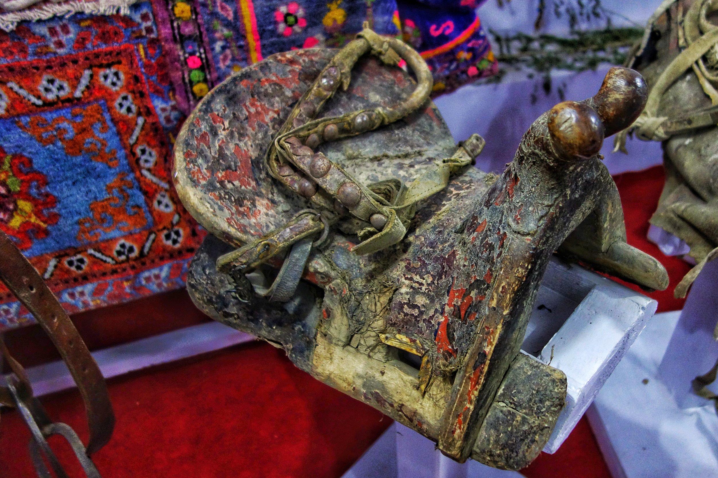A decorated Mongol Horse Saddle