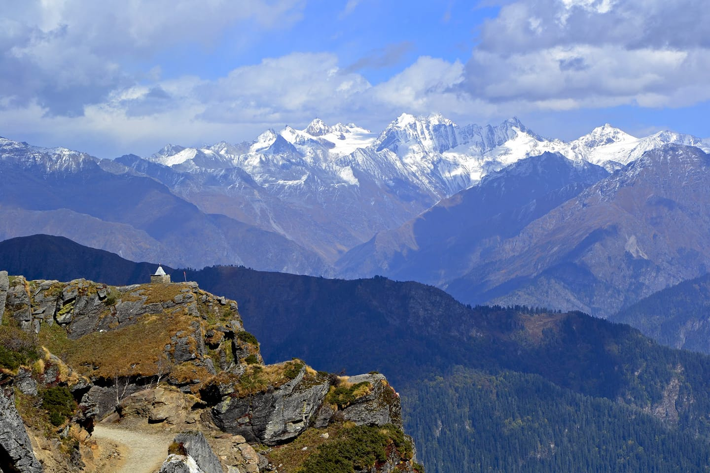 The majestic Peaks of Garhwal as seen from the Chansal Pass.