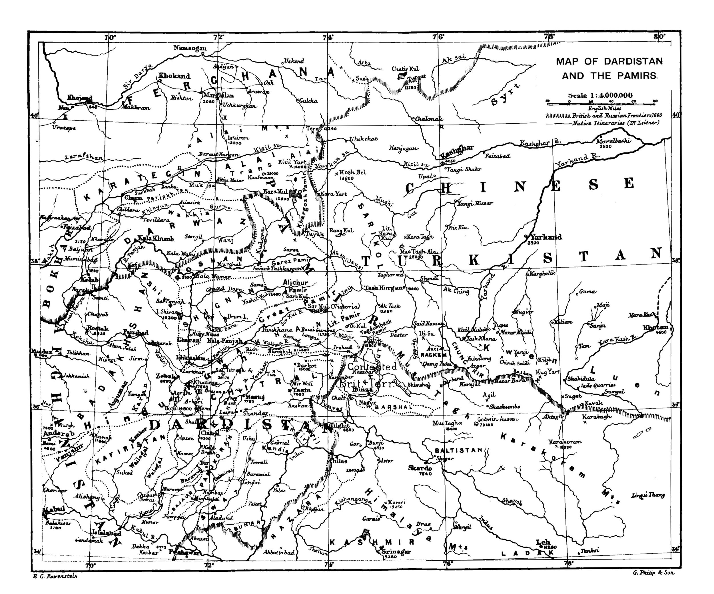 A Map of Wakhan and Pamir country