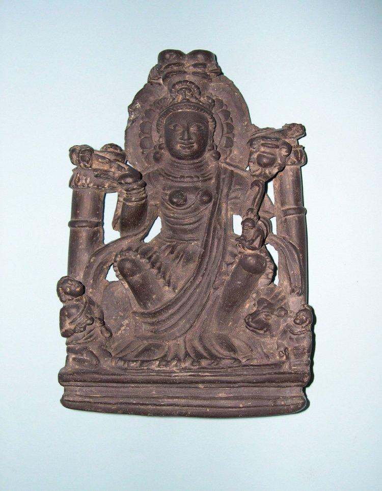 Figure. Steatite stone figure of Gaja-Lakṣmī, seated on a lion. 7th C