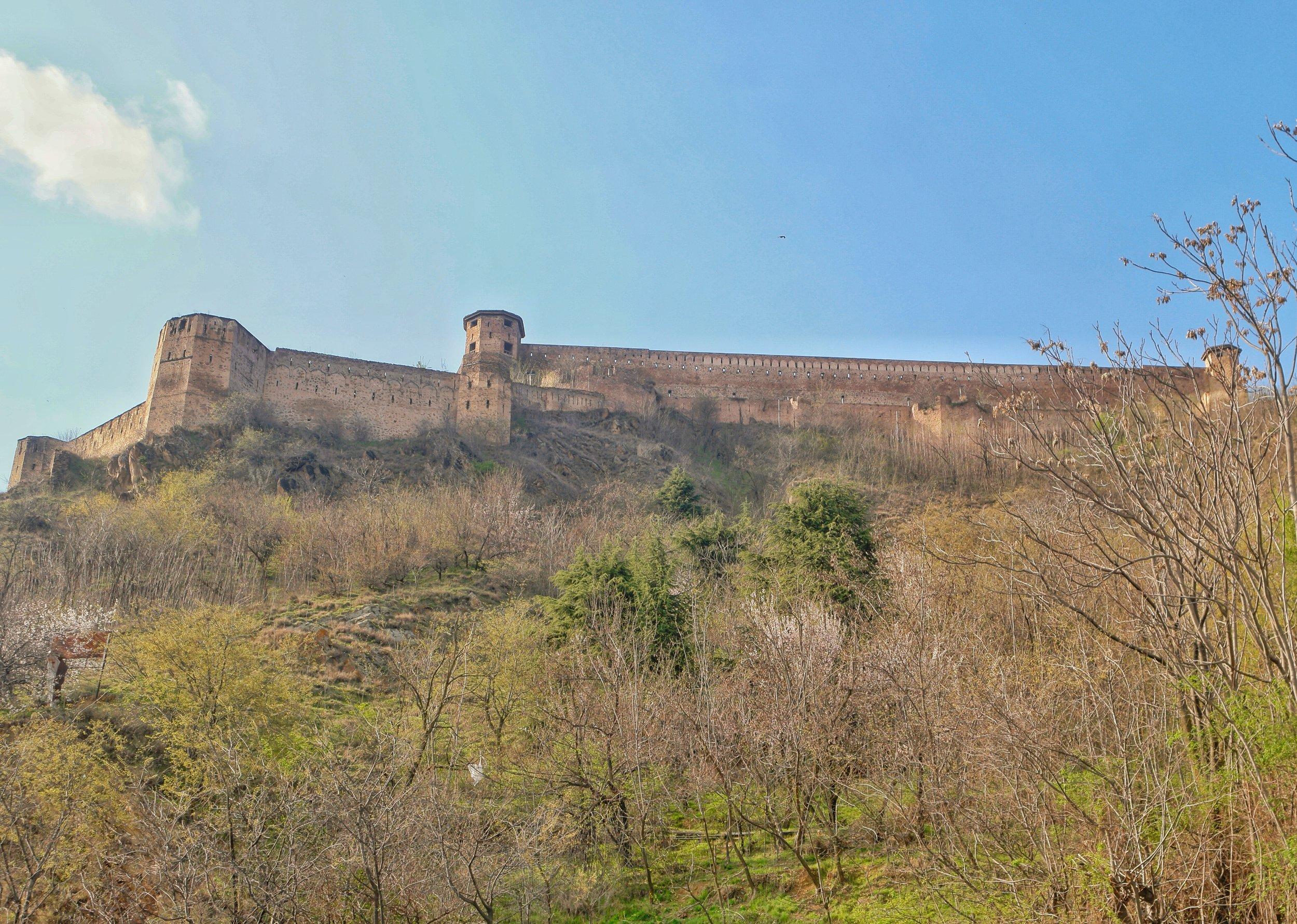 The Hari Parbat Fort as seen from the Badamwari below