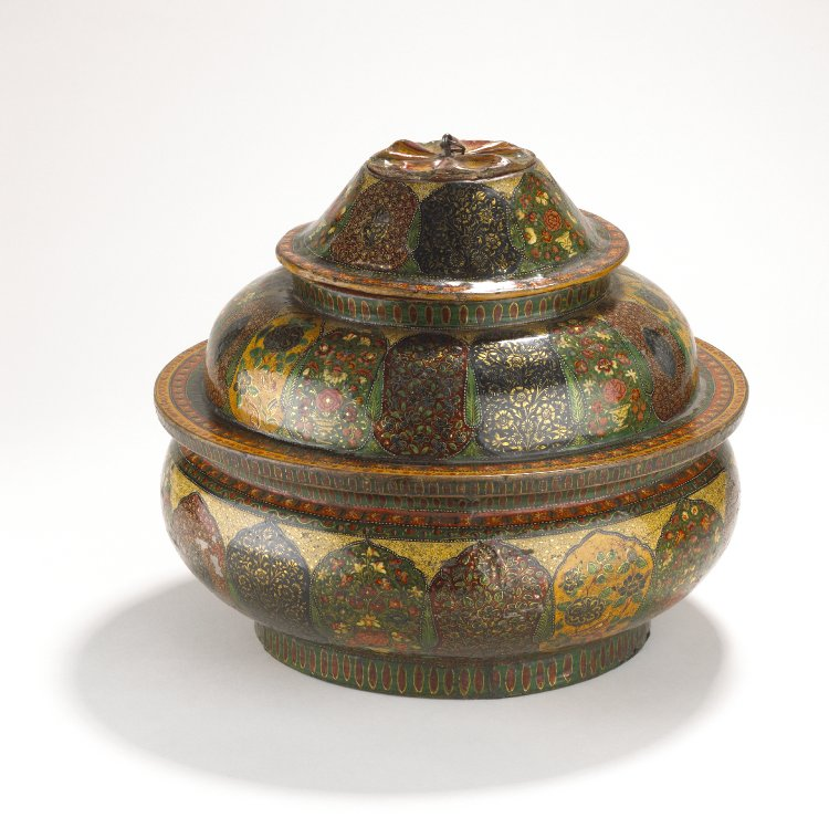 Food container in four parts. Made of lacquered wood and papier mâché. Decorated externally with Kashmiri floral designs and internally with fish. The base is also decorated with fish.-ladakh