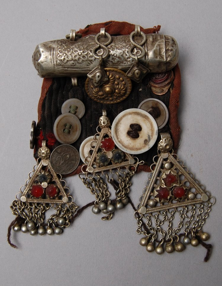 Case (for charm) made of metal, stone, textile-ladakh