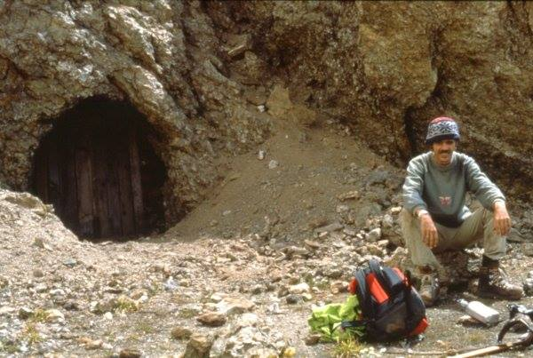 An unknown Trekker sitting in front of one of the Mine Shafts in the 80's.