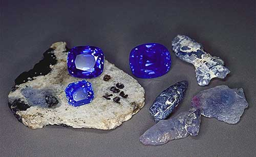 Kashmir Sapphires in ready as well as raw form.