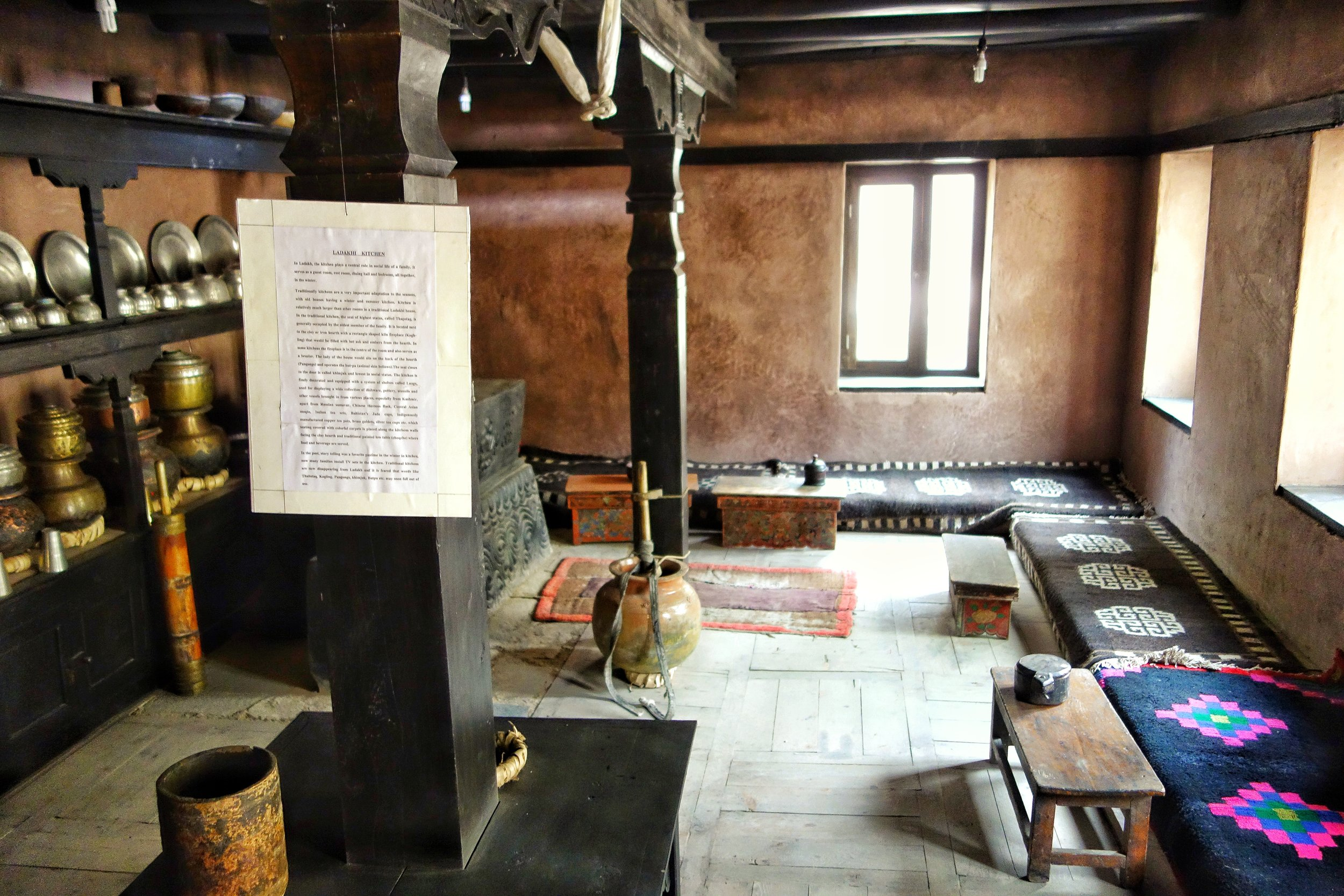 A Traditional Ladakhi Kitchen and Dining Area.