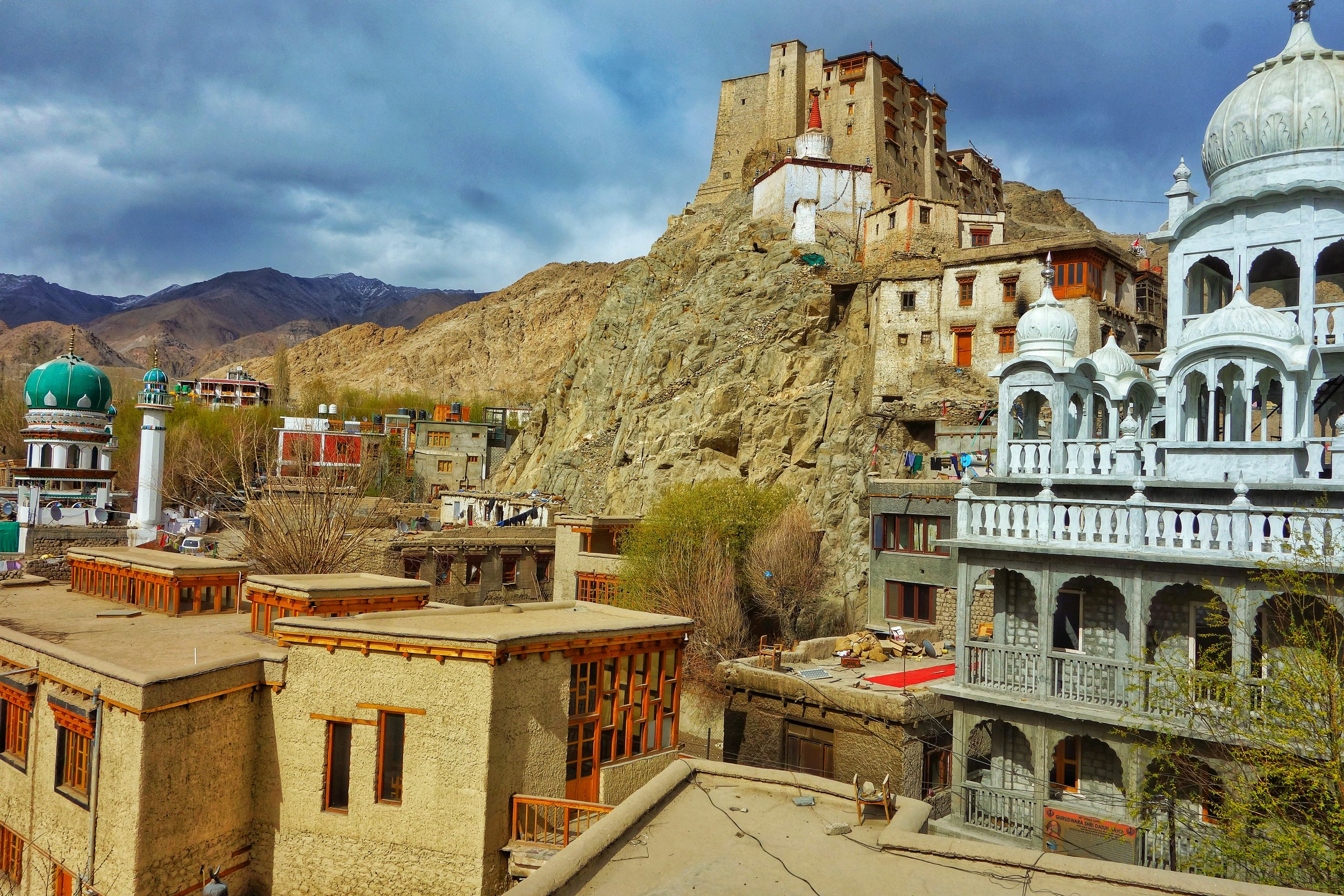 The Mosque, the Monastery at the Leh Palace and the new Gurudwara as seen from the Museum Balcony.
