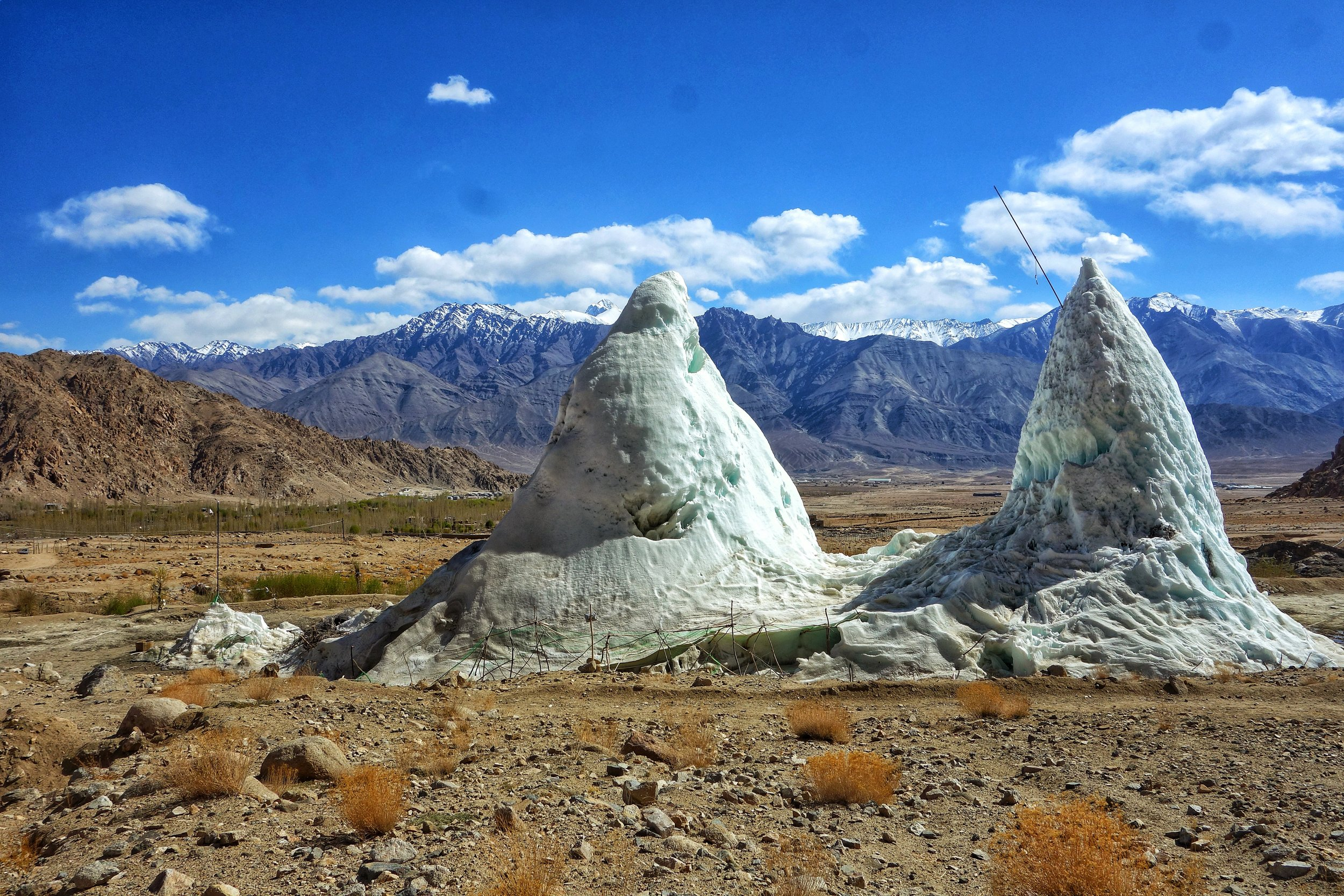 The Ice Stupas towards April end. They disappear by mid May as all the water melts.