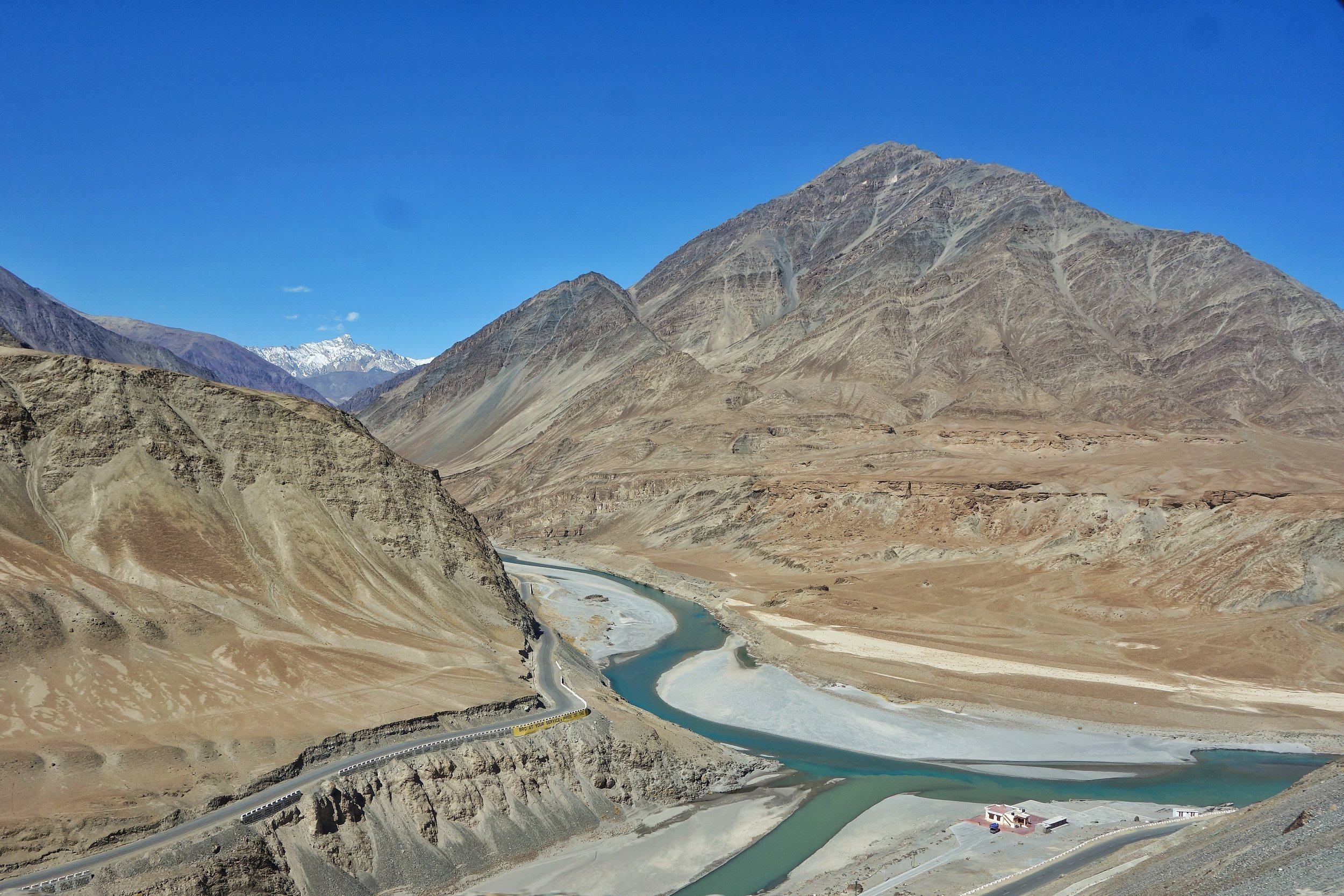 The Sangam or the Confluence of the Indus and Zanskar at Nimmoo