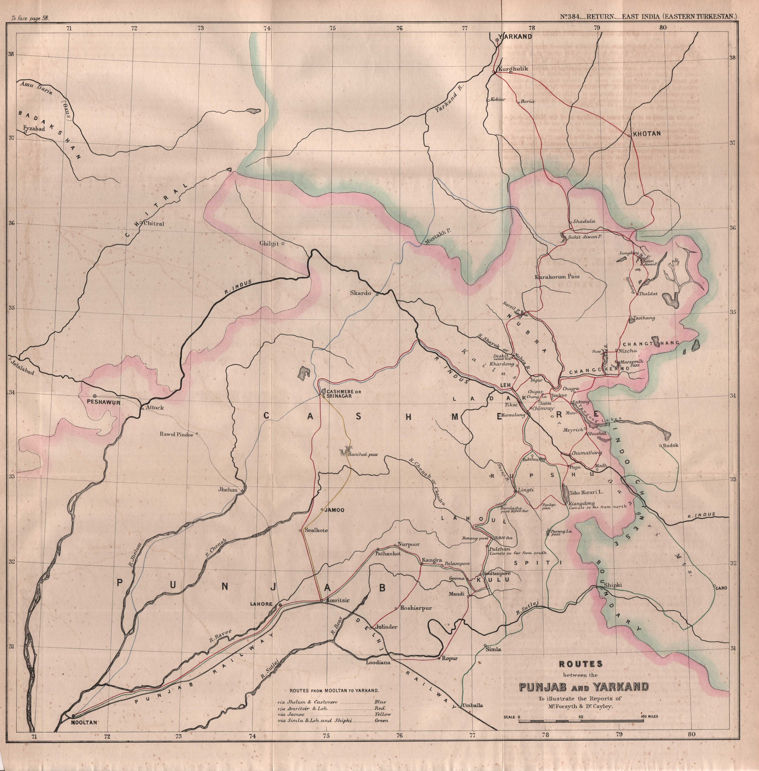 1869 Routes between Punjab and Yarkand to illustrate reports of Forsyth and Cayley.jpg