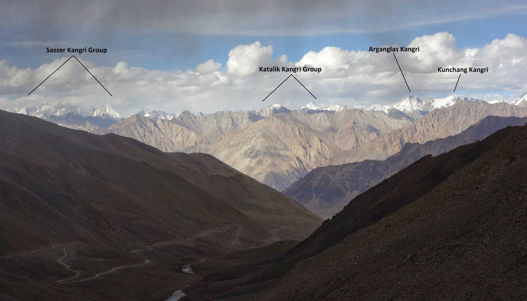 The Karakorams as seen from Khardung La.