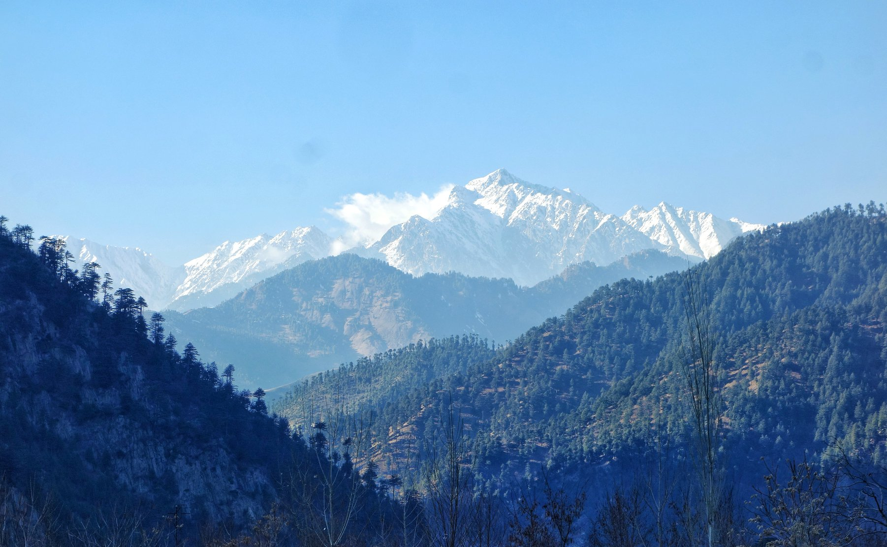 The Kazinag Mountain as seen on the way to Uri near Boniyar. The Mountain is also Home to the Kazinag National Park which is considered the home of the elusive Markhors in Kashmir.
