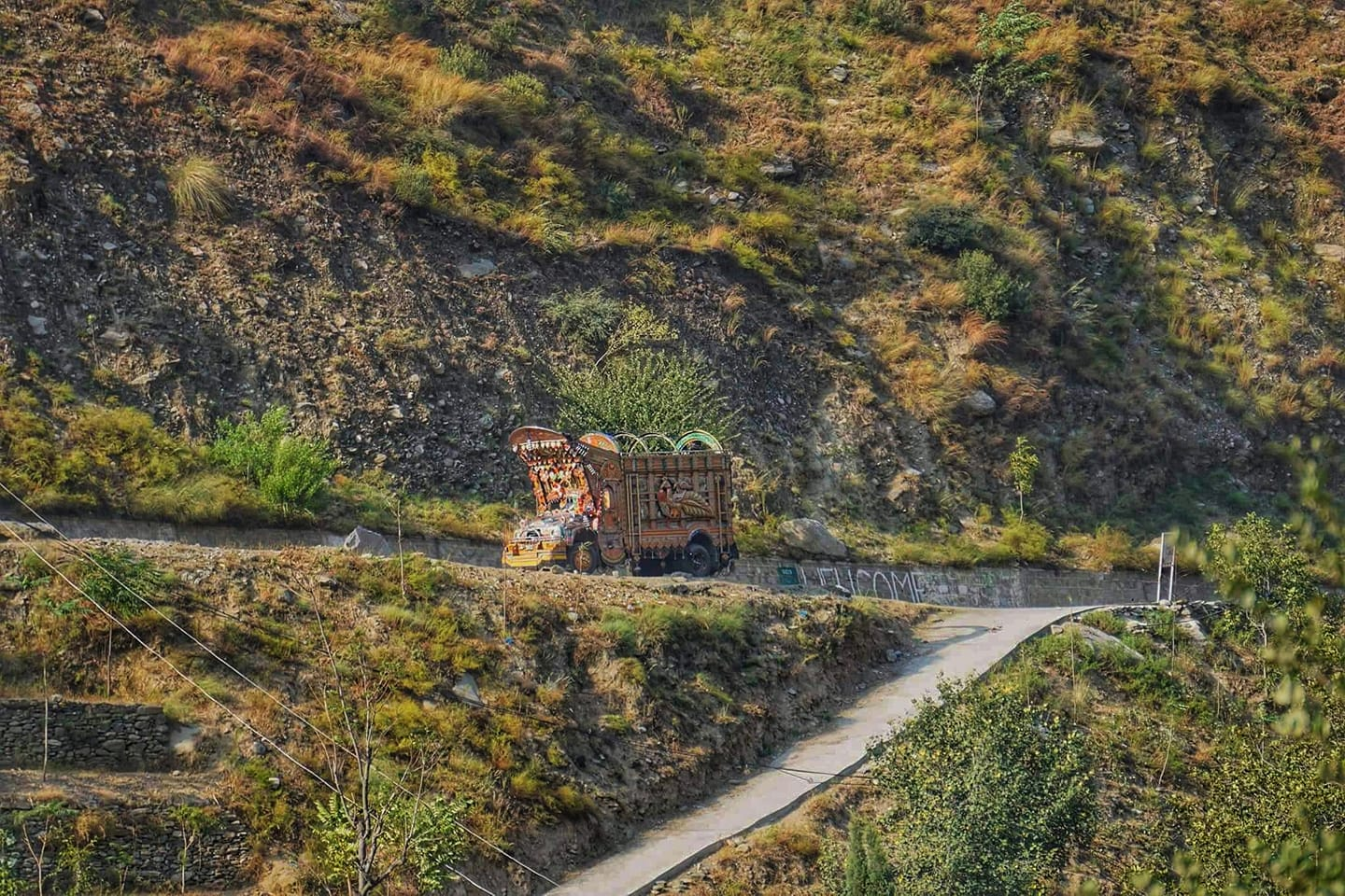 One of the famous colorful Pakistani truck as seen from across the LOC in Tithwal in the Tangdhar Sector.