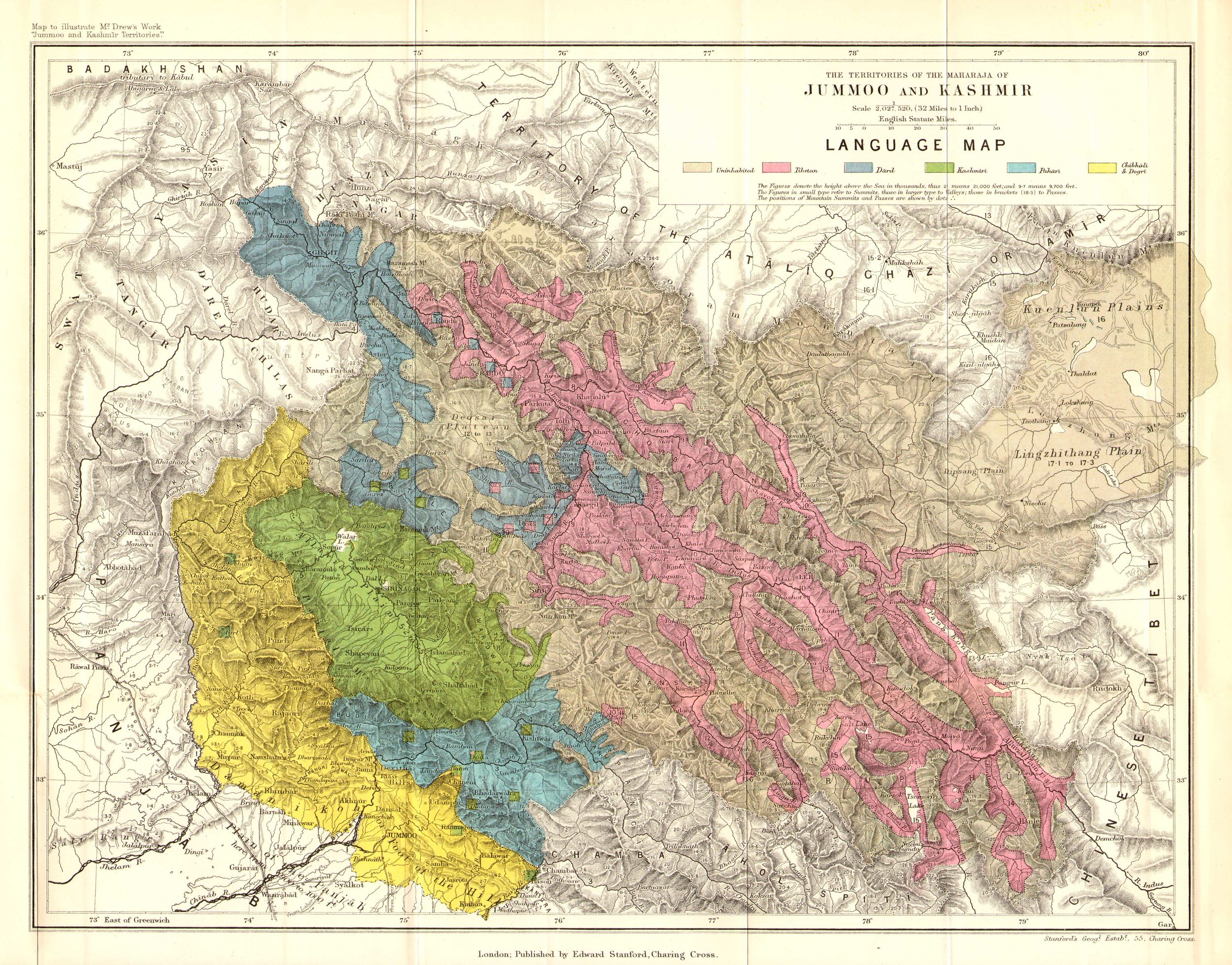 1875 Jummoo and Kashmir Language Map by Drew.jpg