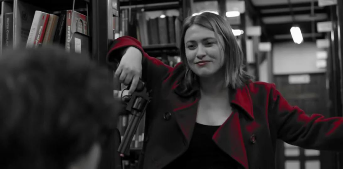 As The Woman in Red in JAK MIR: DETECTIVE. Courtesy Ptseli Productions