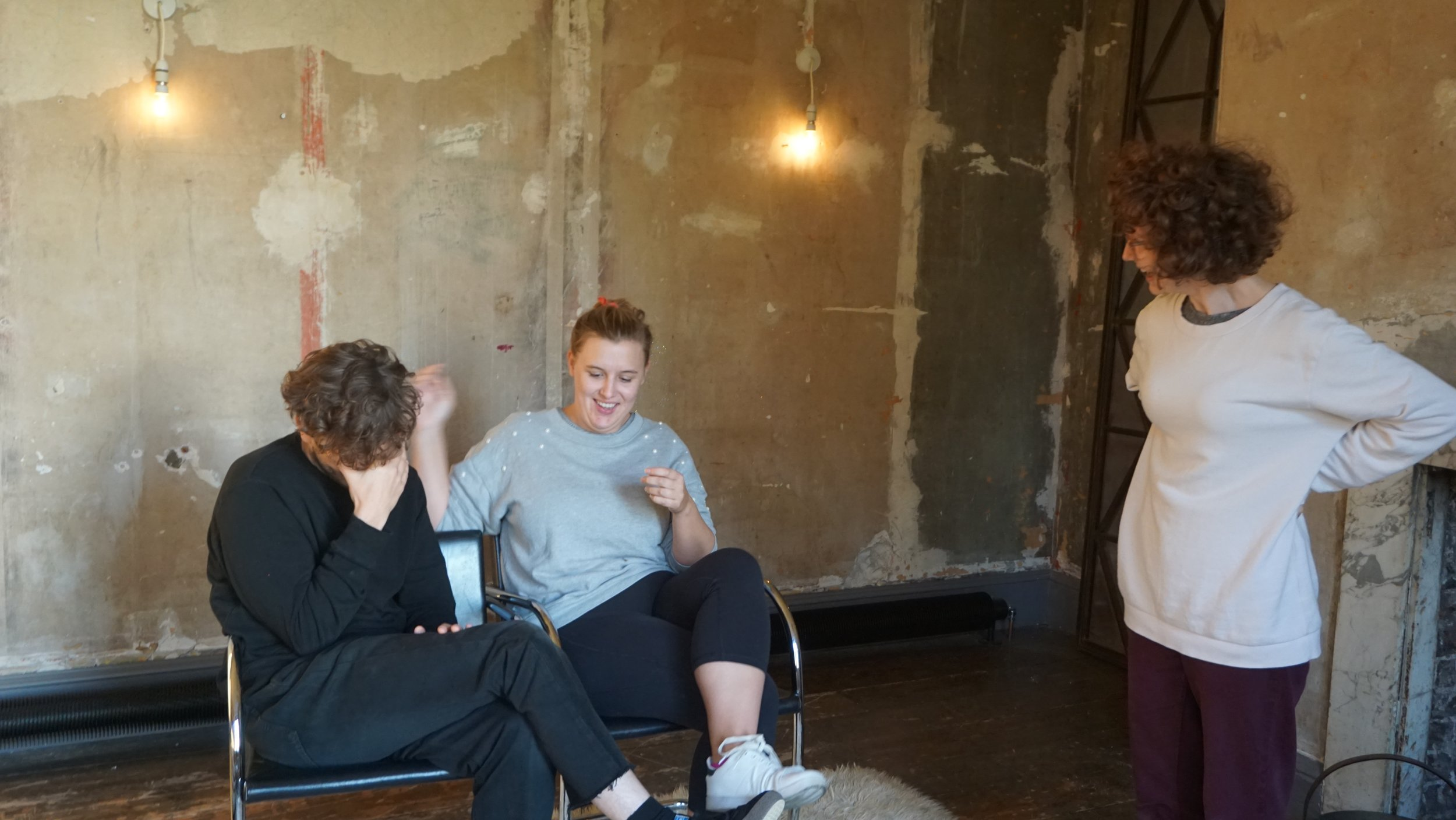 Rehearsal descending into CHAOS. Left to right: Hugh Stubbins, Emilia Stawicki, Michal Horowicz