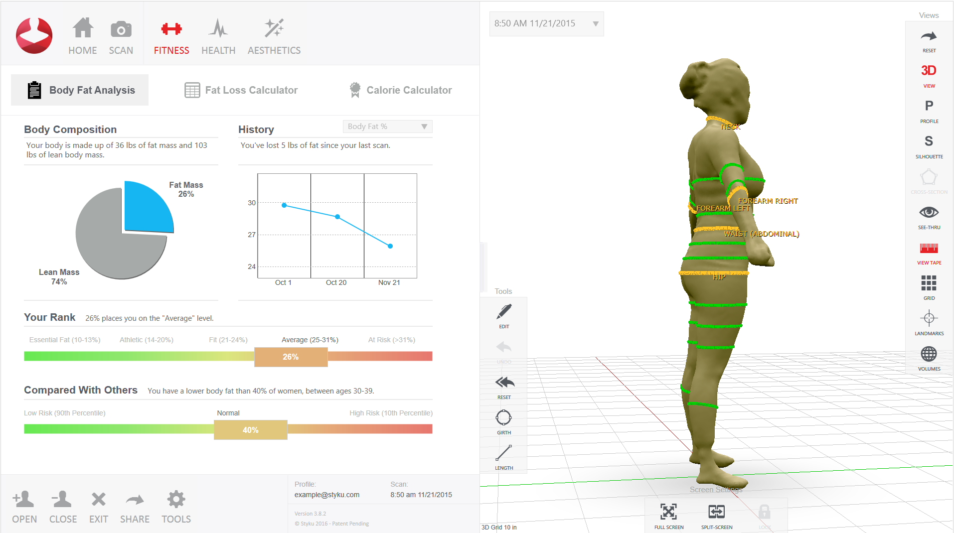 Perspective - Seeing yourself recreated as a 3 dimensional model offers you new views of yourself. We use algorithms to give you a body compostion reading and metabolic rate, allowing you to more clearly define and achieve your goals