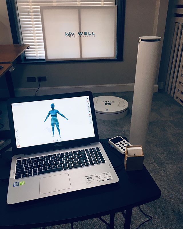 All set and ready to go at the @cheltenhamwellbeingfestival Pop-Up Health MOT event today 10am-4pm taking place @workplacechelt 🌈🌈 • This is an excellent opportunity to have a look at yourself in 3D, assess your posture, health risks, body fat %, and other key metrics. • There are plenty of other excellent practitioners here, so pop down to The Workplace at Ormond Place and have a look... • #wellmeasured #cheltenhamwellbeingfestival #3dbodyscan #dayout #health #wellbeing #fitness #cheltenham #fit #bodyfat #bodycomposition