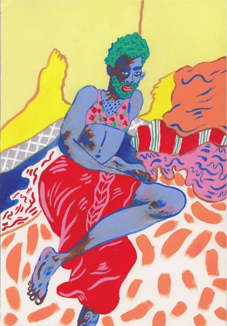 Raschid #1,2017,gouache, ink, pencil on paper,18 x 26 cm
