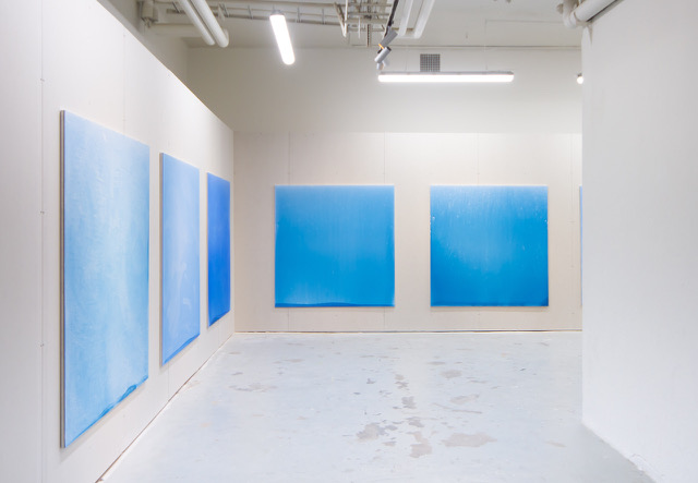 Installation view from  Issues , Stockholm and the show Broad Daylight, until July 28, 2018. A series of new paintings, representing fluctuations in light during the summer solstice on June 21st, the eight blue paintings manifest time in a methodical manner yet through the impressions of the artist's senses and memory.