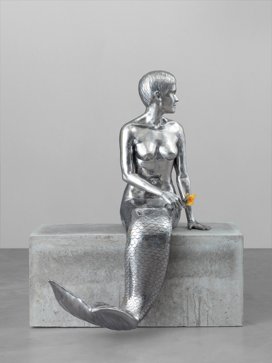 Little Mermaid , 2018, Stainless Steel, Acrylic Paint, Oilpaint, Object: 135 x 52 x 47.5 cm, Pedestal: 120 x 50 x 50 cm, 3 unique versions + 1 AP Courtesy the artist Yves Scherer
