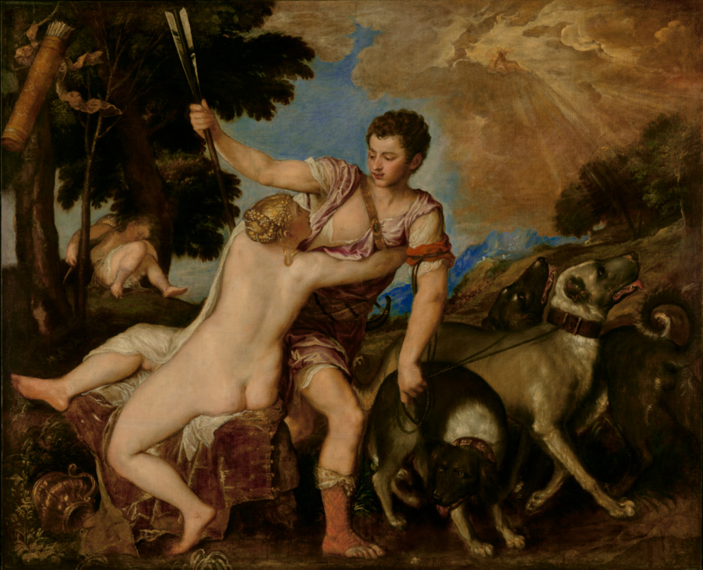 Titian (Tiziano Vecellio) (Italian, about 1487 - 1576)  Venus and Adonis , about 1555–1560, Oil on canvas 161.9 × 198.4 cm (63 3/4 × 78 1/8 in.), 92.PA.42 The J. Paul Getty Museum, Los Angeles  Digital image courtesy of the Getty's Open Content Program.   Read more about the painting