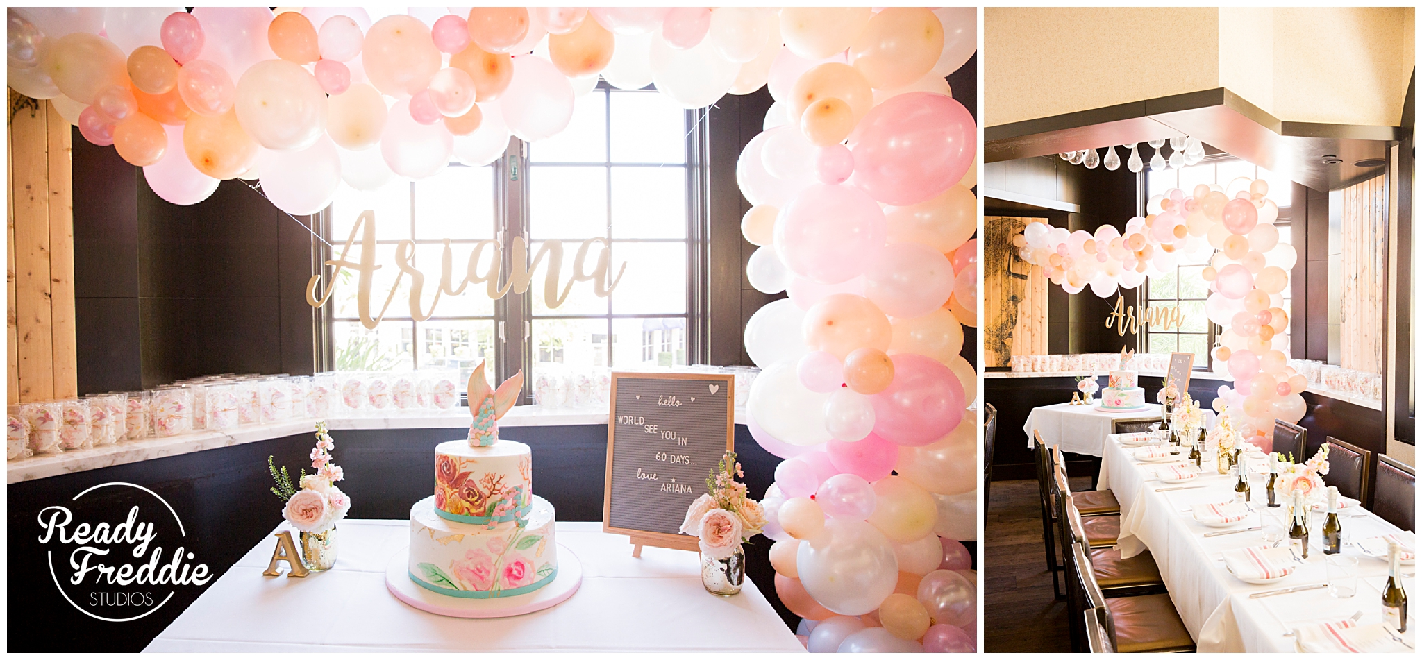beautiful balloon arch at a baby shower